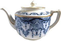 Antique Flow-Blue Teapot