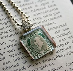 Irish vintage postage stamp necklace - Map of Ireland. Celebrate St. Patrick's Day in style; by CrowBiz