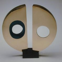 Artwork by Barbara Hepworth, Maquette for Divided Circle, Made of Polished bronze