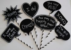 8 Chalkboard Photo Booth Props Speech Bubbles Chalk Board message Signs - could use to decorate food table with tid bits of info about . Diy Photo Booth Props, Photos Booth, Wedding Photo Booth, Wedding Photos, Photobooth Idea, Wedding Signs, Our Wedding, Dream Wedding, Wedding Ideas