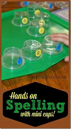 So clever!! Fun spelling games with mini cups! Great for hands on spelling activities to use  for spelling practice with any list for Kindergarten -3rd grade.