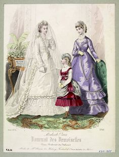 Queen Victoria is credited with popularising the white wedding dress, which came to symbolise romantic propriety and purity 1870s Fashion, Vintage Fashion, Victoria Wedding, Body Adornment, White Wedding Dresses, Queen Victoria, Fashion Plates, Fashion Prints, Vintage Jewelry
