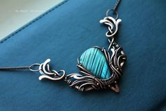 FREE SHIPPING Necklace with labradorite wings  by DorasAccessory