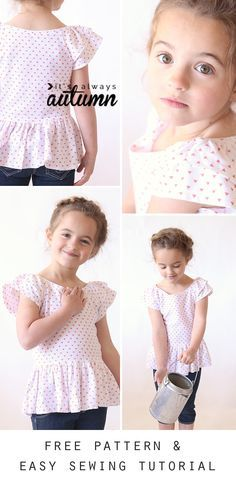 Hello Spring Top - So cute! Free printable PDF pattern for this easy to sew girls' dress or top, plus a great step by step photo tutorial. Pattern comes in girls size Toddler Sewing Patterns, Kids Patterns, Sewing For Kids, Baby Sewing, Pattern Sewing, Pattern Drafting, Girls Shirt Pattern, Girl Dress Patterns, Pants Pattern