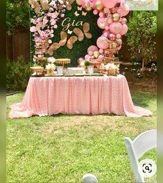 1st Birthday Party For Girls, Girl Birthday Themes, Baby Girl Shower Themes, Girl Baby Shower Decorations, Baby Shower Parties, Birthday Party Decorations, Butterfly Party Decorations, Shower Baby, Table Decorations