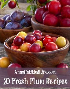 20 Fresh Plum Recipes;  Savor the sweet flavor of fresh plums with these 20 Fresh Plum Recipes. From crumbles to jams to cakes and pies, there is a fresh plum recipe for everyone to enjoy! http://www.annsentitledlife.com/recipes/20-fresh-plum-recipes/
