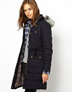 Image 1 ofBarbour Quilted Parka With Check Lined Hood