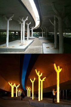 How in the world can art help in deterring crime? By turning dark, dangerous highway underpasses into enchanted golden forests that glow, that's how! 'Aspire' by Warren Langley is a public art installation located underneath the Western Distributor at Ult Urban Landscape, Landscape Design, Landscape Plaza, Parasitic Architecture, Parque Linear, Public Space Design, Public Spaces, Urban Intervention, Column Design