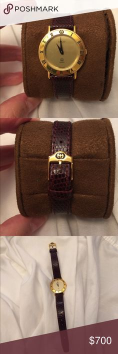 Gucci watch Gold face - lightly used, new recently replaced authentic brown leather Gucci strap Gucci Other