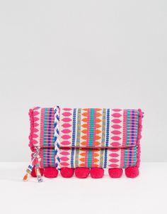 fun colorful handbag fashionable accessories purse for spring/ summer - ASOS BEACH Foldover Weave Cross Body Bag