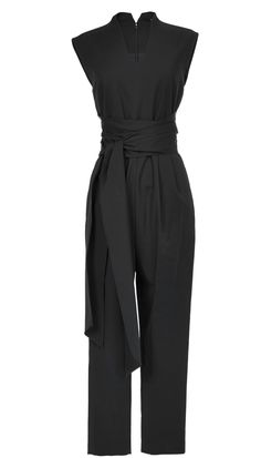 The cotton-blend black jumpsuit is a great alternative to the LBD in this sleeveless style featuring front tie detail. Hidden zip closure at back. Side seam pocket with hidden zip closure. Partially lined.    Styled with Weston Slingback Loafers  48% Cotton, 45% Polyamide, 7% Elastane. Dry Clean Only.   Style Number: THO15AGA23997   Available in: Black