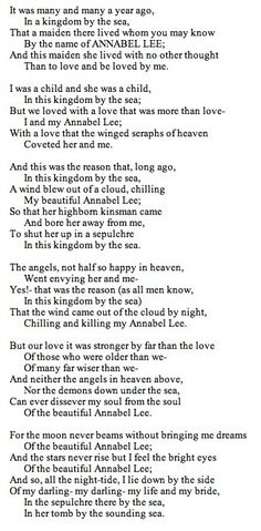 My favorite poem by Edgar Allen Poe.