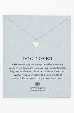 Free shipping and returns on Dogeared 'Reminder - Dog Lover' Boxed Pendant Necklace at Nordstrom.com. A dainty heart pendant necklace boasts an innocent paw print as a gentle reminder of unconditional love and loyalty.