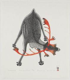 Pootoogook, Kananginak, Amiraijaqtuq (Shedding the Velvet) | SLU Digital Collections  | stonecut