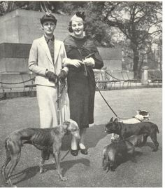 The Hon Deborah Mitford (Debo) later Duchess of Devonshire, with her greyhound Studley and her dachshund Jacob; and her sister, The Hon Jessica Mitford (Decca), with her sister Nancy's french bulldogs: Dominic(foreground) and Lottie (rear). Mitford Sisters, Nancy Mitford, The Duchess Of Devonshire, Six Sisters, Vintage Dog, Italian Greyhound, Hunting Dogs, Dog Photos, Historical Photos