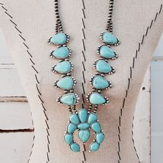 Hank & Henriettal Statement Full Squash Blossom Turquoise Colored Necklace