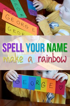 Rainbow activities: A fun way to learn to spell your name -- make a rainbow! Preschool Names, Preschool Literacy, Preschool Lessons, Early Literacy, Educational Activities, Activities For Kids, Preschool Homework, Teaching Abcs, Special Education