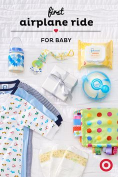Make Baby's first flight successful by having all the in-flight must-haves within easy reach. A diaper bag with extra diapers, wipes, blankets, bottles and an extra outfit is always a good idea. Tip: time feedings during takeoff and landing to help ease their ears (a pacifier will do the trick, too!).