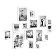 15er Set Bilderrahmen Modern Weiss aus MDF 10x15 bis 20x30 cm inklusive Zubehör zur Gestaltung einer Collage / Bildergalerie Bilderrahmen Modern