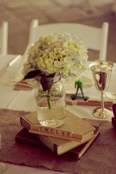 Simple and pretty--for the book and scrabble nerds like myself. :) love this for bridal shower idea @eliza