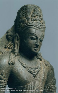 Vishnu. India, Bihar, Pre Pala, 6th-7th century. Grey stone.