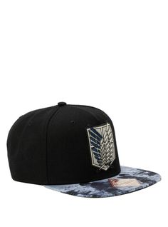 Attack On Titan snapback hat with an embroidered Scout Regiment logo and sublimation printed bill.