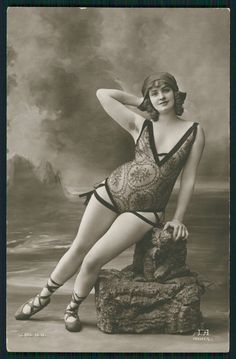 Vintage risque postcard of a bathing beauty ....in ballet shoes?!