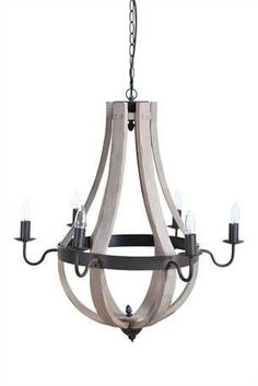 Stella Wood and Metal 6 Light Chandelier