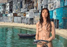 Michele Del Campo - The Old District on the Lake Graffiti O, Italian Painters, Window Art, Milan Italy, Dundee, New Artists, Female Form, Les Oeuvres, Art History