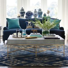Shop for Williams Sonoma Faux Shagreen Coffee Table, Gray by Williams-Sonoma at ShopStyle. Coastal Living Rooms, New Living Room, Formal Living Rooms, Living Room Sofa, Living Room Interior, Blue Velvet Sofa Living Room, Blue Living Room Decor, Blue Living Room Furniture, Blue And Green Living Room