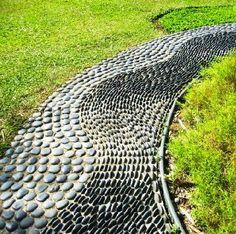 A reflexology path is part of a healing garden