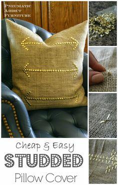 Cheap & Easy Studded Pillow Covers- www.pneumaticaddict.com