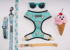 Frenchie Reversible Harness - POP SKULL FRENCHIE BULLDOG BLUE AND PINK POPSICLE ICE CREAM SKULL DOG HARNESS