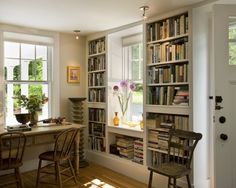 Bookcases flanking window - traditional - living room - other metros - Smith & Vansant Architects PC