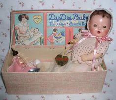 """RARE 1930s Dy-Dee WEE 9"""" w/Layette in BOX -- Unplayed With Baby, Effanbee"""