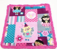 Fairy Princess Crochet Edge Fleece lovey Blanket, Doll Blanket, 12x12, B12-15 by MonaSewingTreasures on Etsy