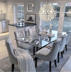 53 Elegant Dining Room Design For Dream Home - Pin Store Dining Room Table Decor, Elegant Dining Room, Luxury Dining Room, Dining Room Design, Living Room Decor, Dining Furniture, Grey Dinning Room, Dinning Room Ideas, Glass Dinning Table