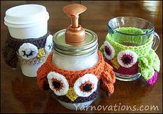 Owl Cozy for Mason Jar Soap Dispenser ~ free pattern