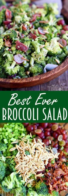 Dont believe me? Just try it! This Best Ever Broccoli Salad recipe is bursting with flavor! Packed full of broccoli, bacon, grapes, almonds and more - every bite is delicious!   http://MomOnTimeout.com