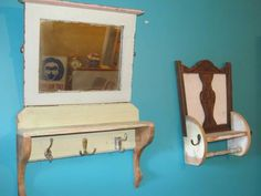 Old chair backs repurposed into shelves with hanging hooks. Made by vintage treasures Capalaba