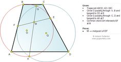 Math: Geometry Problem 1031: Trapezoid, Intersecting Circles, Common Chord, Tangent Line, Midpoint, Parallel Lines. Level: School, College.