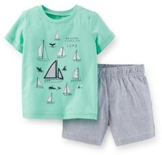 Carter's Baby Clothing Outfit Boys 2-Piece Jersey Tee & Hickory Stripe Short Set Mint Sail NB