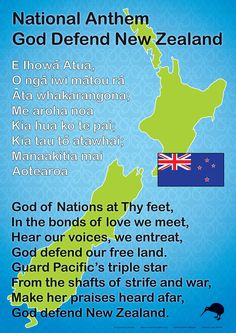 An sized chart showing our New Zealand National Anthem in English and Maori. Good chart to display in school halls Learning Resources, Teaching Tools, Maori Songs, Waitangi Day, Maori Symbols, Maori Designs, Matou, Anzac Day, Maori Art