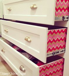 Honey We're Home: Lined Dresser Drawers #chevron