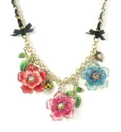 Betsey Johnson Jewelry Hawaiian Luau Triple Orchid Necklace