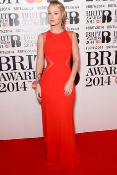 Izzy Azalea wearing red ELIE SAAB for the BRIT Awards 2014 last night Evening