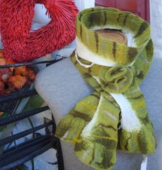 Mossy Green Nuno felted scarf by Beautifulfelts on Etsy, $60.00