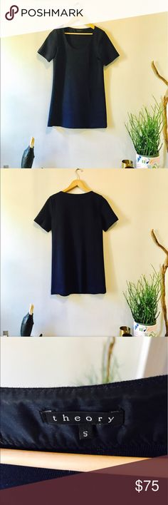 Theory Tunic. Soft Wool. Beautiful Navy. Beautifully knit Theory tunic in navy. Pair it with black leggings and loafers in true French girl fashion. 🇫🇷 Theory Tops Tunics