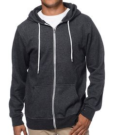 Grab your new favorite sweatshirt with the Zine Hooligan heather black zip up hoodie. This standard fit guys zip up hooded sweatshirt showcases a solid front and back in heather black, accenting white zipper and adjustable drawstrings with reinforced meta