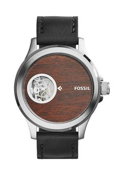 Fossil 'Nate' Wood Print Dial Automatic Leather Strap Watch, 46mm available at #Nordstrom